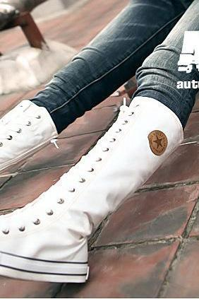 Women shoes White Canvas boot lace up sneakers knee high